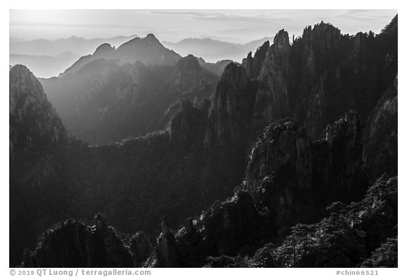 Granite spires, early morning. Huangshan Mountain, China (black and white)