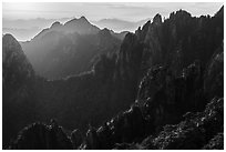 Granite spires, early morning. Huangshan Mountain, China ( black and white)
