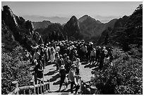 Tourists at overlook. Huangshan Mountain, China ( black and white)
