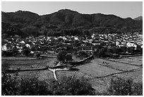 Fields and village. Xidi Village, Anhui, China ( black and white)