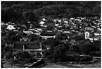 Village from above. Xidi Village, Anhui, China ( black and white)