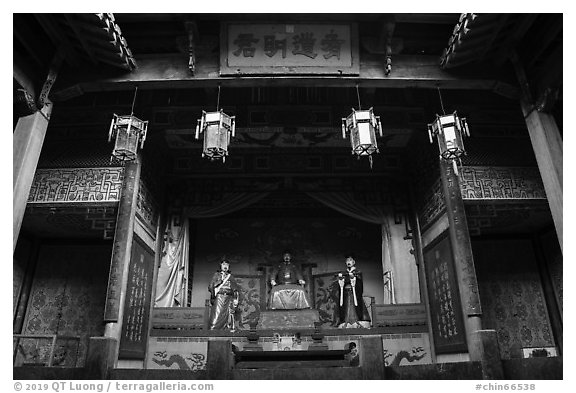Altar, Zhuimu Hall. Xidi Village, Anhui, China (black and white)