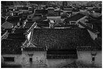 Tile rooftops. Xidi Village, Anhui, China ( black and white)