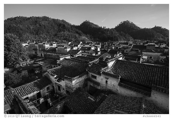 Village rooftops. Xidi Village, Anhui, China (black and white)