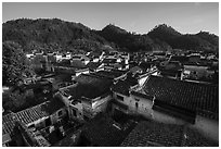 Village rooftops. Xidi Village, Anhui, China ( black and white)