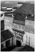 Historic house from above. Xidi Village, Anhui, China ( black and white)