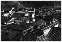 Slate tiled rooftops. Xidi Village, Anhui, China ( black and white)