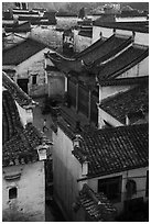Zhuimu Tang from above with child at play. Xidi Village, Anhui, China ( black and white)