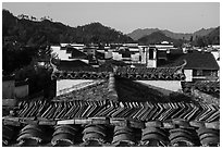 Slate tiles on roofs. Xidi Village, Anhui, China ( black and white)