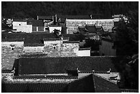 Ancient rooftops. Xidi Village, Anhui, China ( black and white)