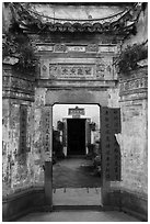 Gates with inscriptions. Xidi Village, Anhui, China ( black and white)