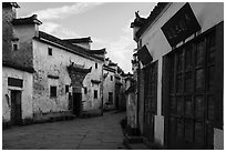 Historic buildings. Xidi Village, Anhui, China ( black and white)