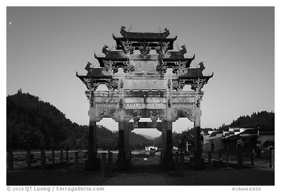 Hu Wenguang Memorial Arch at sunrise. Xidi Village, Anhui, China (black and white)