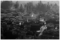 Village from above with morning mist. Xidi Village, Anhui, China ( black and white)