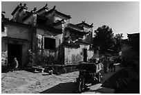 Street and traditional houses. Xidi Village, Anhui, China ( black and white)