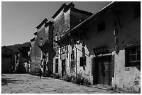 Plaza with historic houses. Xidi Village, Anhui, China ( black and white)