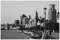 The Bund in the morning. Shanghai, China ( black and white)