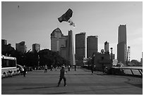 Kite and Peoples Memorial Tower, the Bund. Shanghai, China ( black and white)