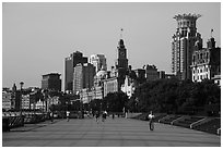 Promenade and colonial buildings, the Bund. Shanghai, China ( black and white)