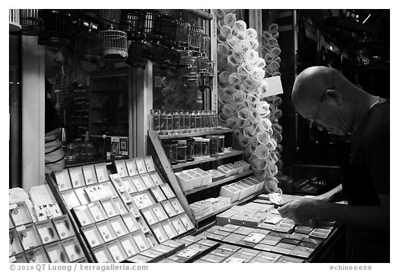 Man shopping at Bird and Insect Market. Shanghai, China (black and white)
