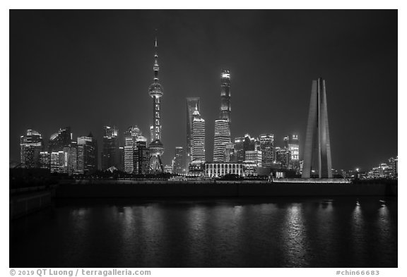 Peoples Memorial and city skyline at night. Shanghai, China (black and white)