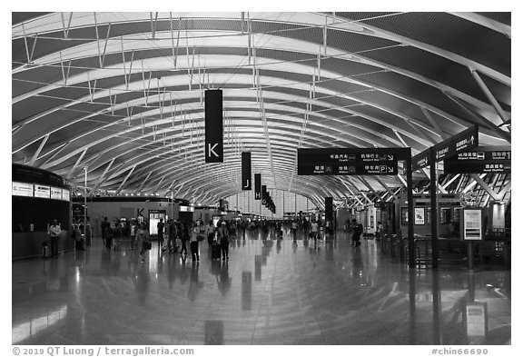 Concourse, Pudong Airport. Shanghai, China (black and white)