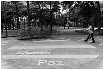 Multilingual peace word, 2-28 Peace Park. Taipei, Taiwan (black and white)