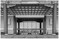 National Theater with reflections of National Concert Hall. Taipei, Taiwan (black and white)
