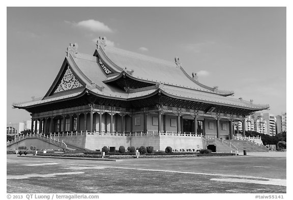National Concert Hall on Chiang Kai-shek memorial grounds. Taipei, Taiwan (black and white)