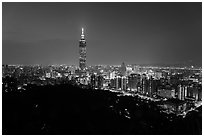 Taipei skyline from above at night. Taipei, Taiwan ( black and white)