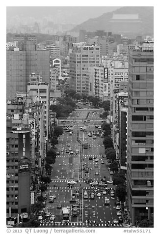 Old town center boulevard from above. Taipei, Taiwan