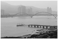 Damshui riverscape. Taipei, Taiwan (black and white)