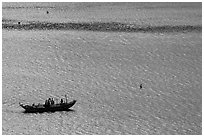 Small boat on Damshui river. Taipei, Taiwan (black and white)