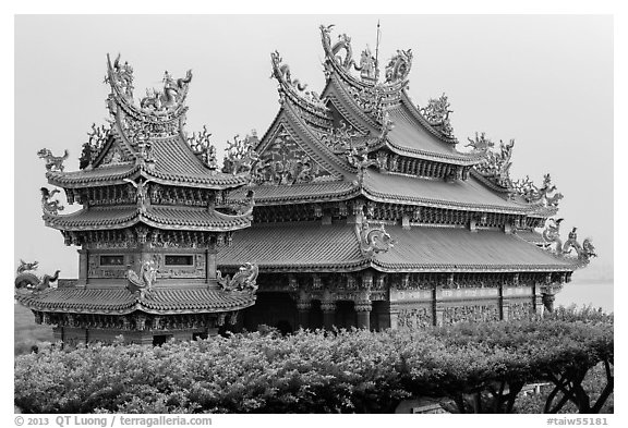 Guandu Temple from the hillside gardens. Taipei, Taiwan (black and white)
