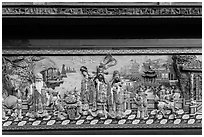 Frieze, Guandu Temple. Taipei, Taiwan (black and white)