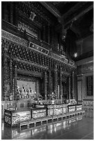 Inside main room, Guandu Temple. Taipei, Taiwan (black and white)