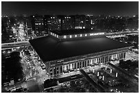 Central station seen from above by night. Taipei, Taiwan ( black and white)