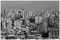 Old town center buildings from above. Taipei, Taiwan (black and white)