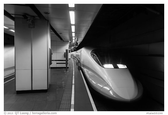 High Speed Rail (HSR) train, central station. Taipei, Taiwan (black and white)