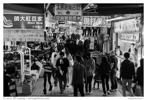 Crowds in Shilin Night Market. Taipei, Taiwan (black and white)