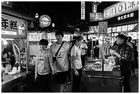 Street food area, Shilin Night Market. Taipei, Taiwan ( black and white)