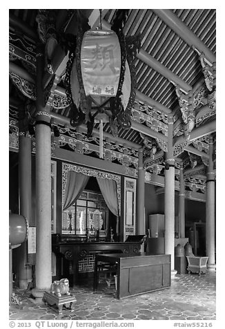 Chongsheng Shrine, Confuscius Temple. Taipei, Taiwan (black and white)