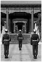 Changing of the honor guard, Martyrs Shrine. Taipei, Taiwan (black and white)