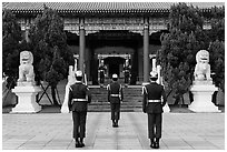 Changing of the guard ceremony, Martyrs Shrine. Taipei, Taiwan ( black and white)
