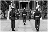 Changing of the guard ritual, Martyrs Shrine. Taipei, Taiwan (black and white)
