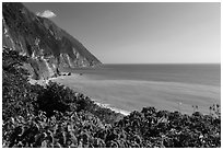 Sea cliffs and turquoise waters. Taroko National Park, Taiwan ( black and white)
