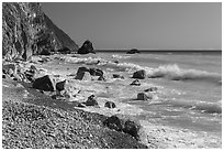 Waves and boulders. Taroko National Park, Taiwan ( black and white)