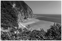 Verdant cliffs and turquoise waters. Taroko National Park, Taiwan ( black and white)