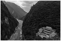 River gorge and temple. Taroko National Park, Taiwan ( black and white)