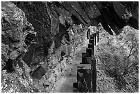 Narrow trail under rock overhang, Taroko Gorge. Taroko National Park, Taiwan ( black and white)
